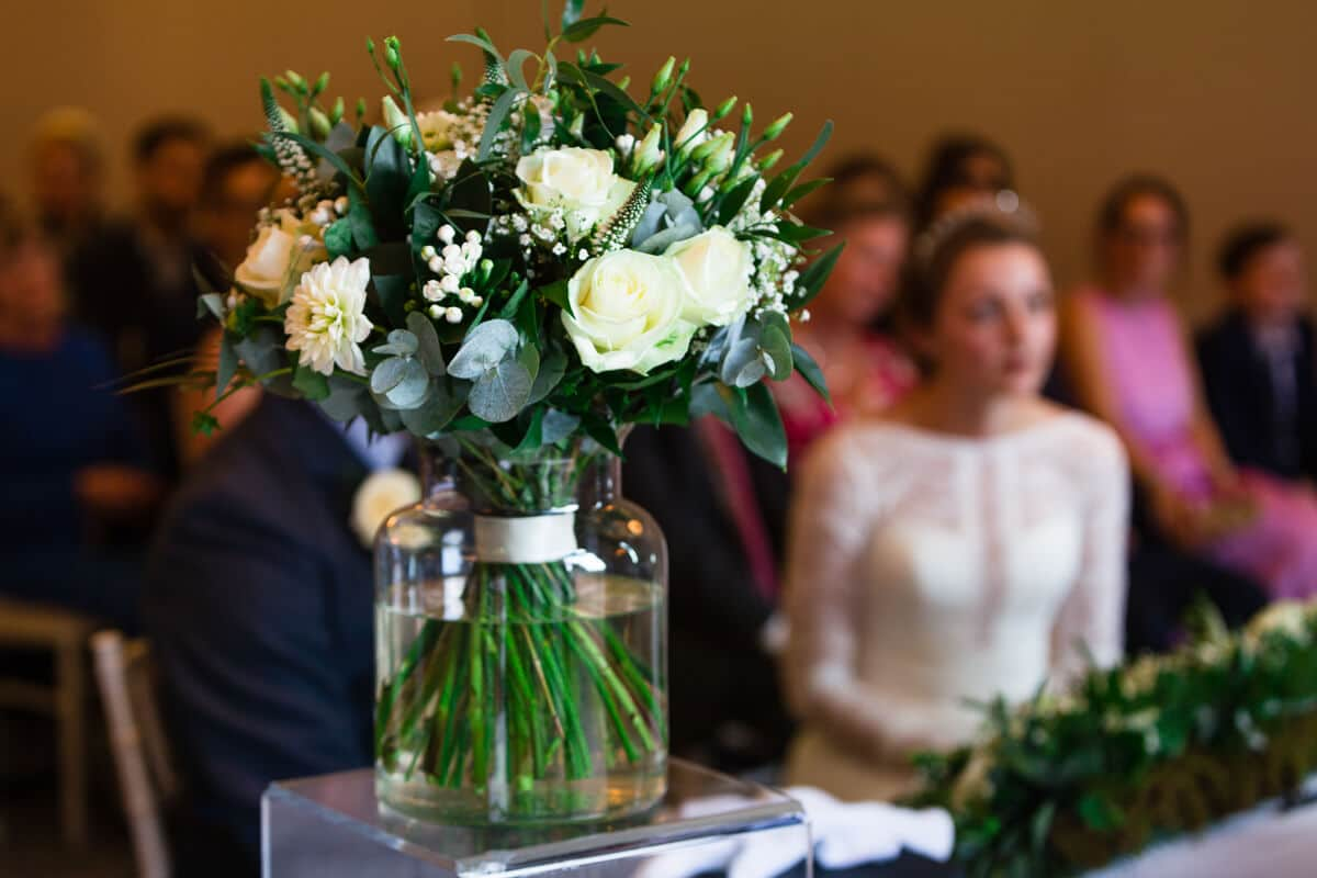 Close up of Wedding flowers during ceremony