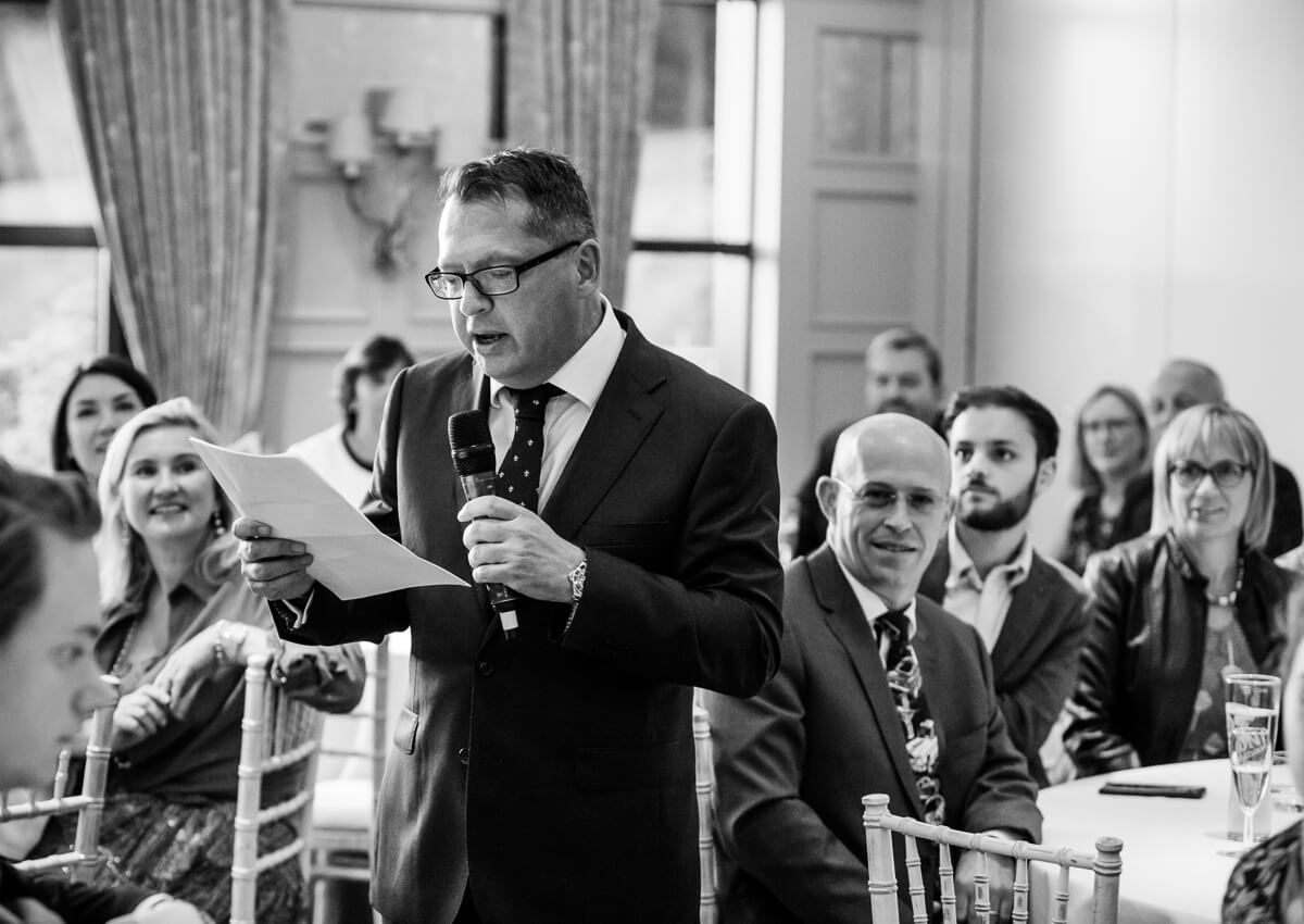 Brides father making speech at wedding
