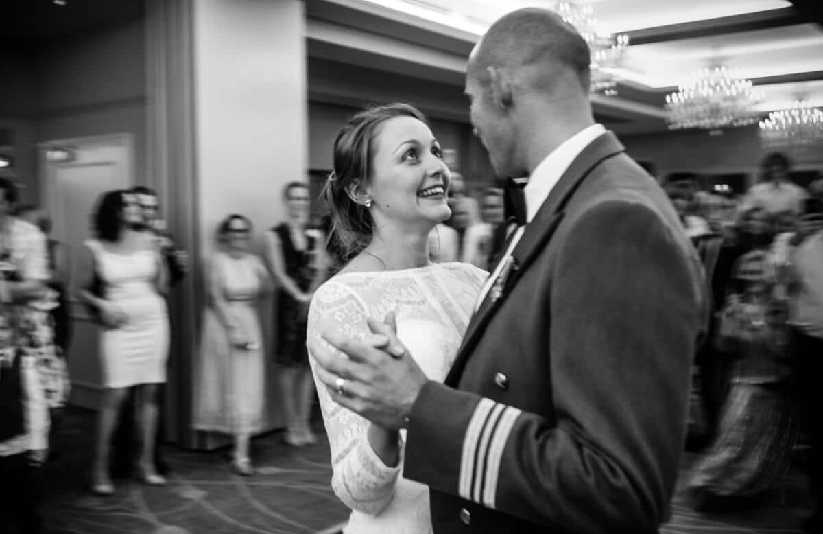 Bride looking into grooms eyes at first dance