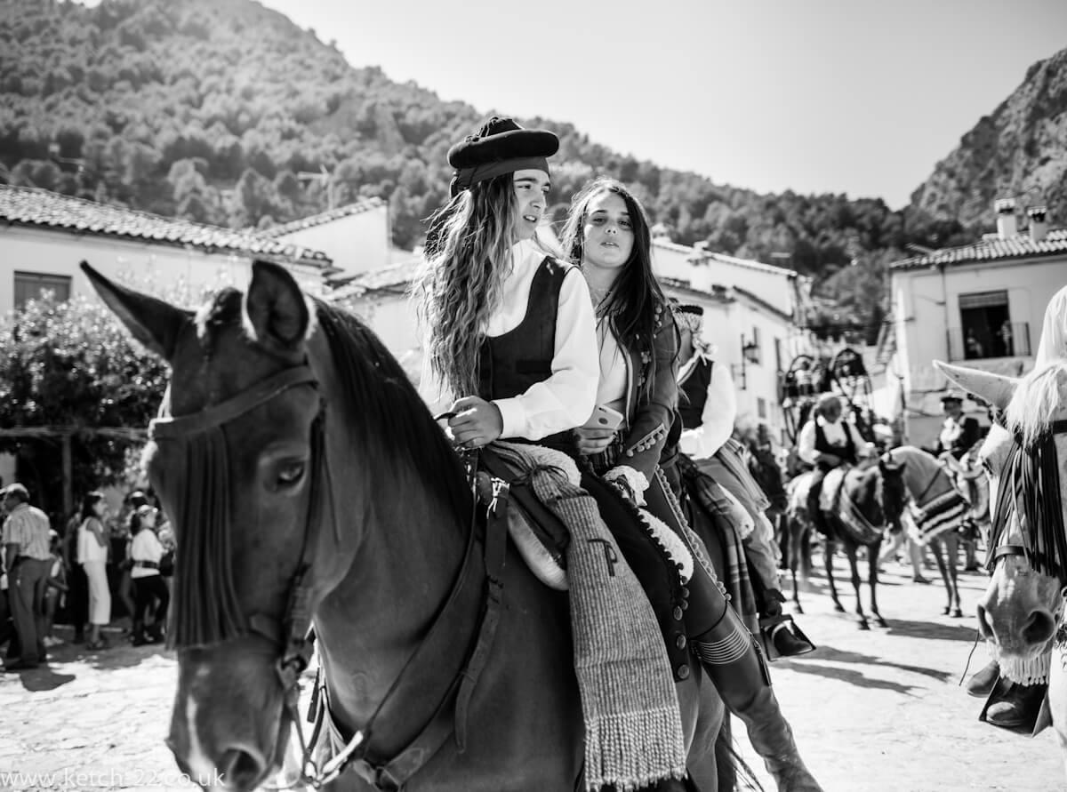 Girls on horse back at Grazalema fiesta