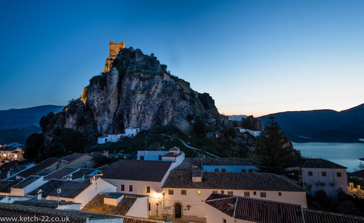 Early morning view over Andalusian town of Sierra de la Zahara