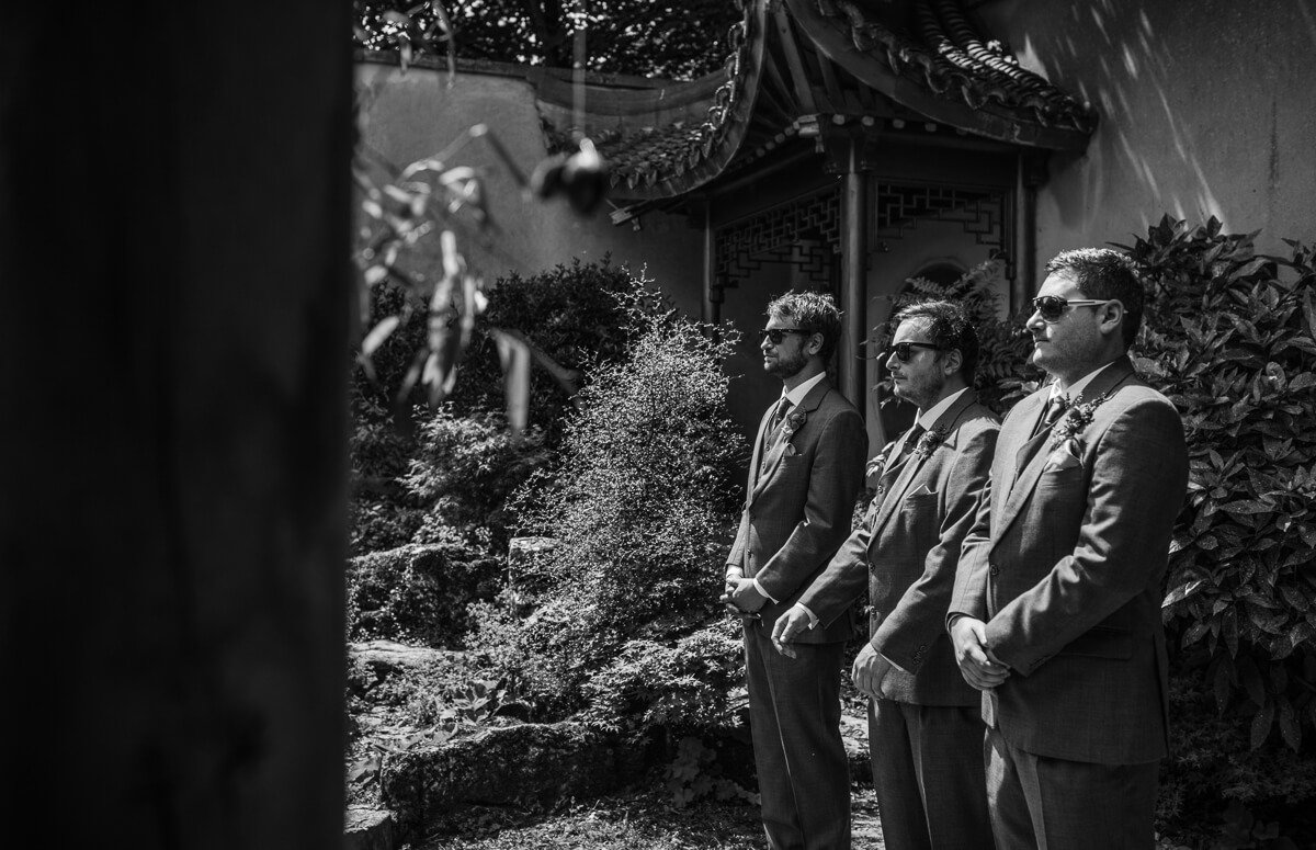 Groomsmen wearing shades