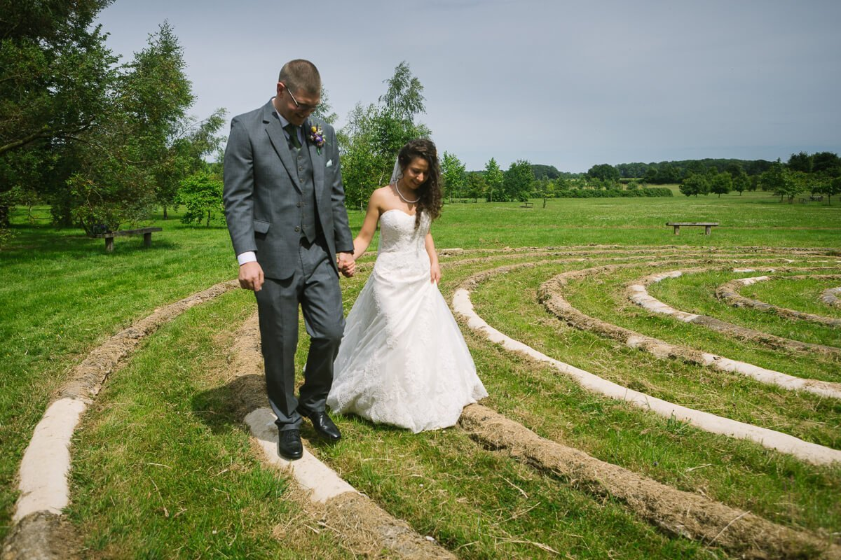 Spiral circle wedding ceremony in Gloucestershire