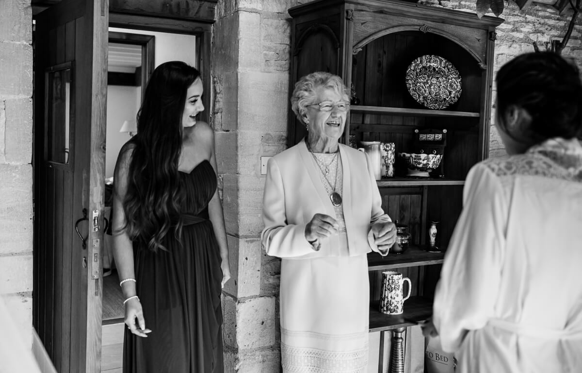 Grand mother sees bride for the first time