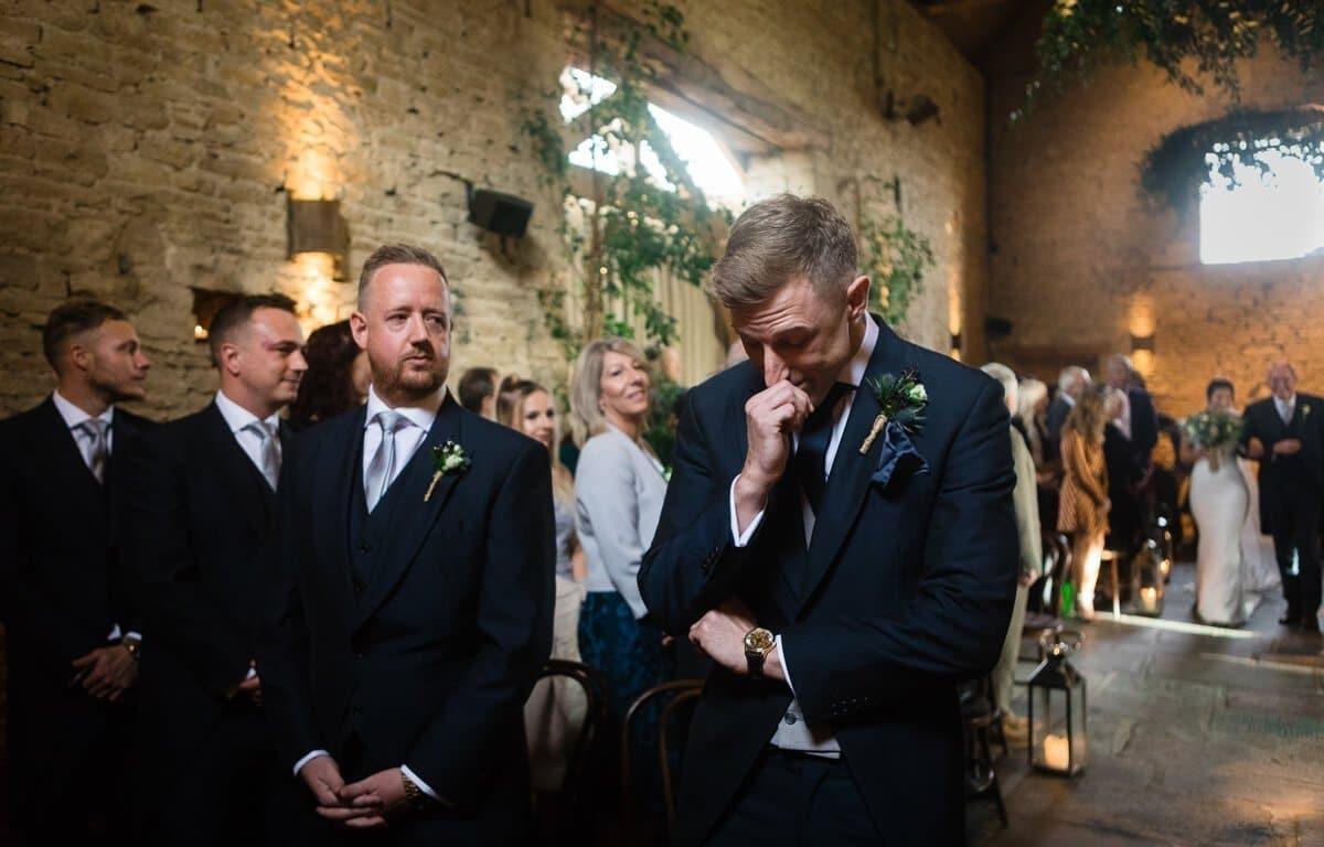 Groom breaks down in tears at Cripps Barn wedding ceremony