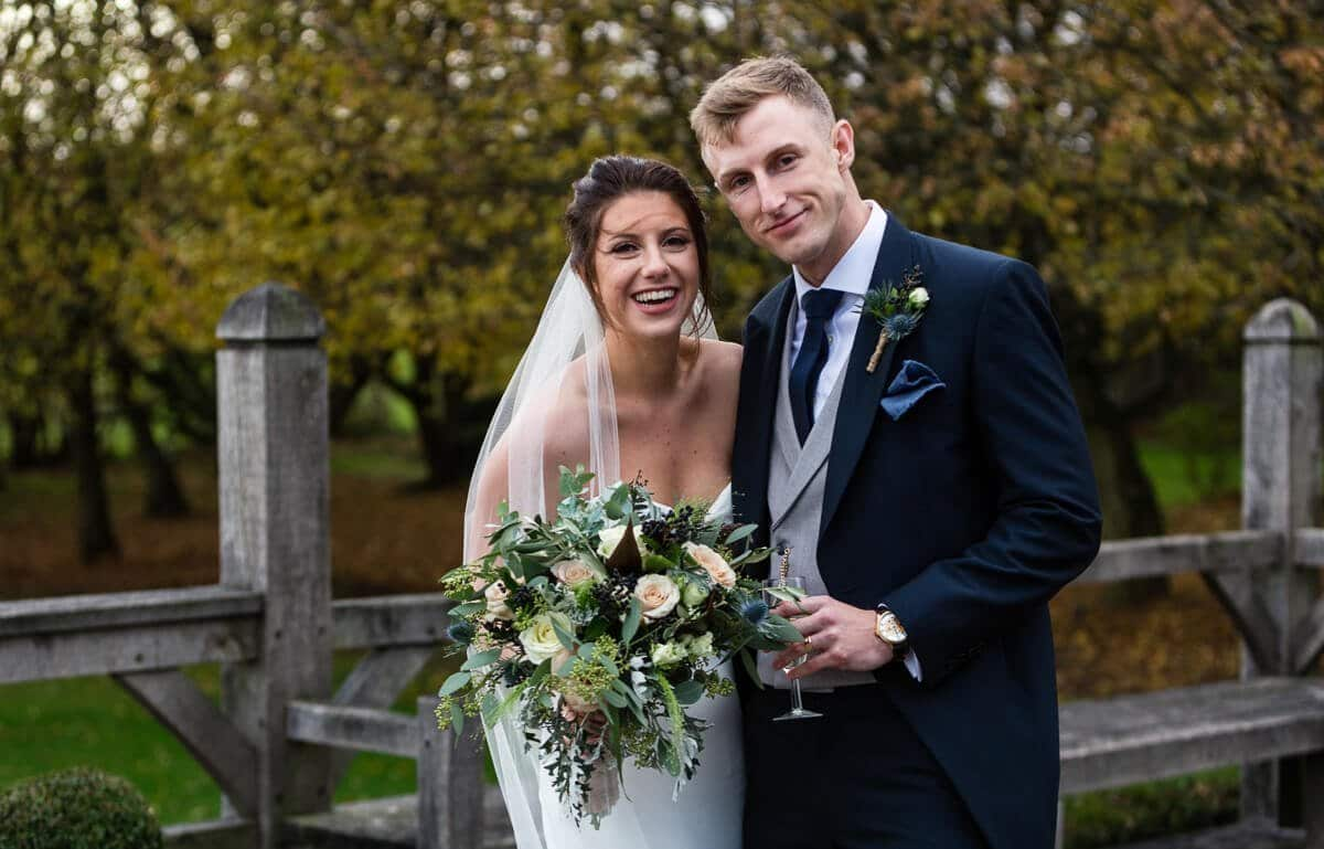 Natural portrait of Bride and groom at Cripps Barn Wedding