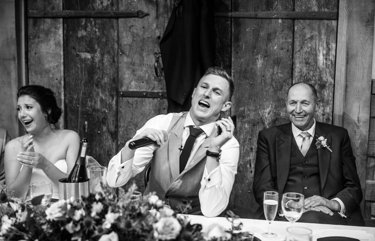 Groom is surprised at speeches