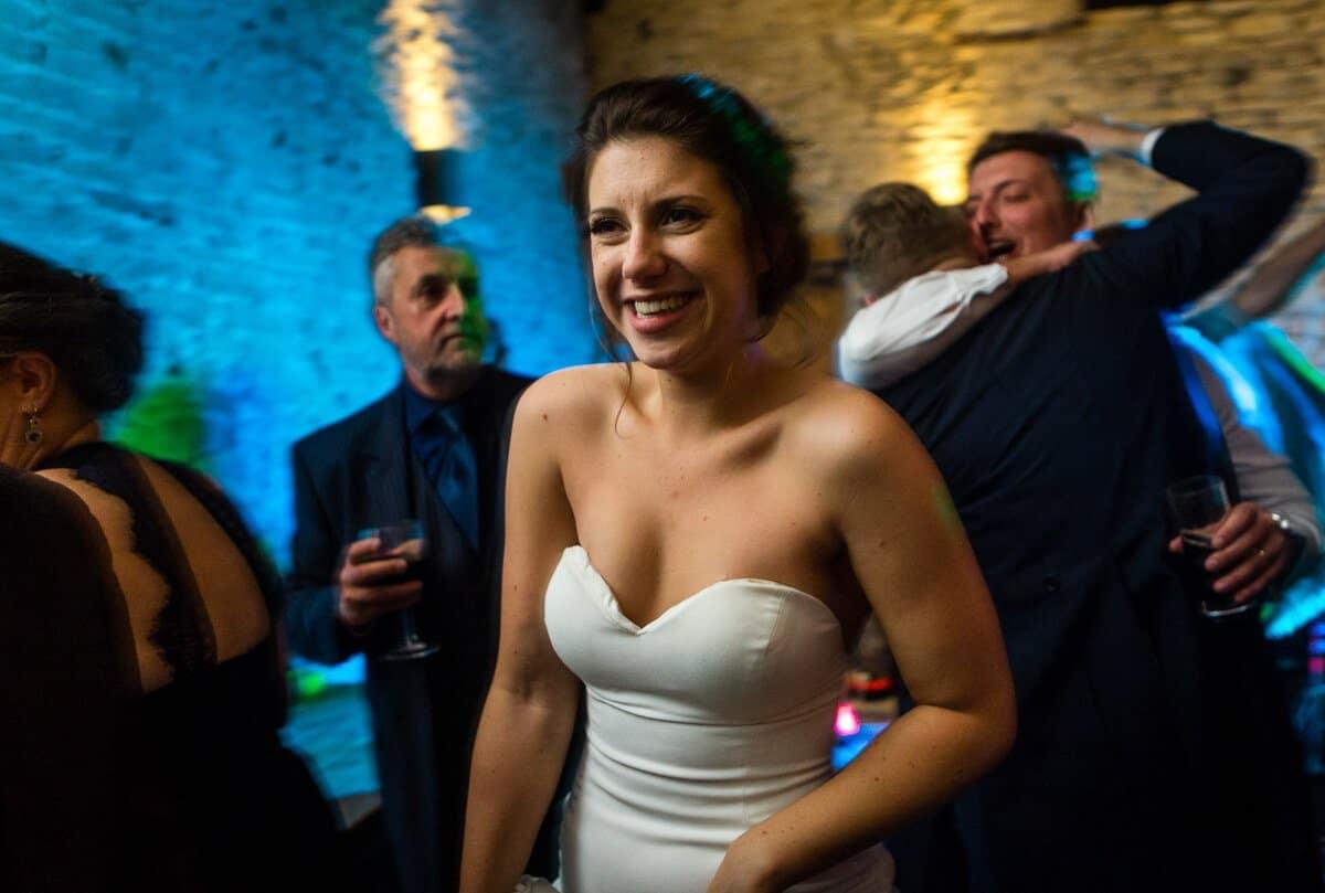 Bride on dancefloor at Barn wedding