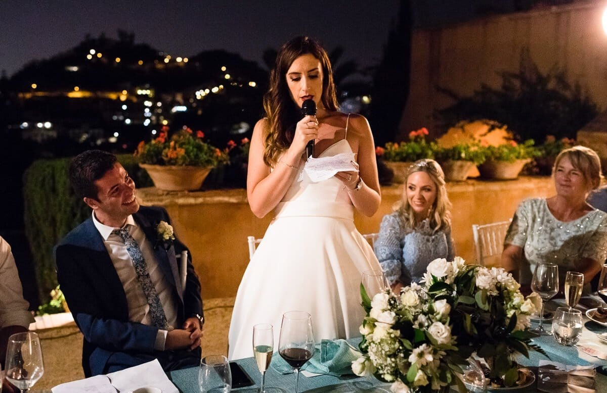 Bride making speech Castle Wedding in Malaga Spain